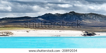 Rugged Mountain view from Kidney Island - stock photo