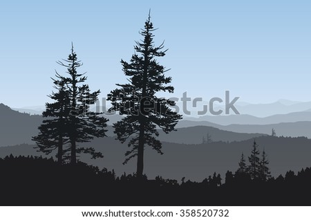 Rugged mountainside with evergreen trees in the foreground. - stock photo