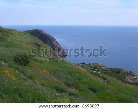 Rugged Newfoundland coastline.  Canada. - stock photo