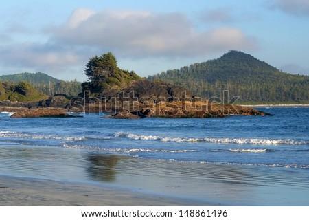 Rugged Pacific Coast near Tofino on Vancouver Island - stock photo