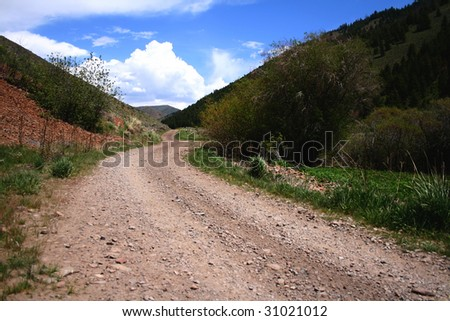 Rugged rural road in the spring, Blaine County Idaho