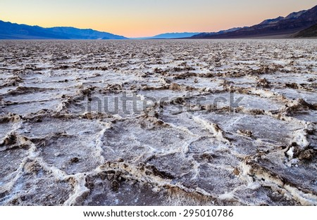Rugged Salt Flats at Death Valley - stock photo