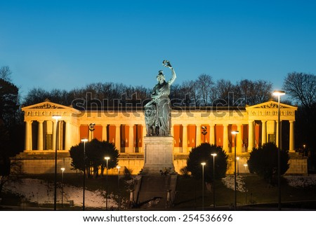 Ruhmeshalle (Hall of Fame) with Bavaria statue at Theresienwiese at night, Munich, Germany - stock photo