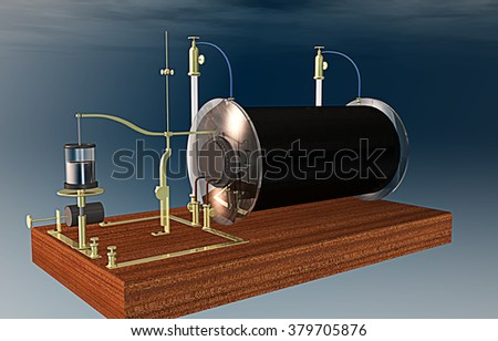 Ruhmkorff inductor, electrical transformer used to produce high-voltage pulses from a low-voltage direct current, patented in 1851 by Heinrich Ruhmkorff, German inventor - stock photo
