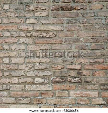 Ruin and ancient gray brick wall surface background texture - stock photo
