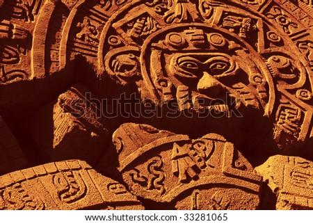 Ruin of a ancient aztec calendar - stock photo