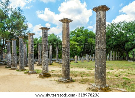 Ruin of Olympia; the birth place of Olympic games in Katakolon, Greece. - stock photo