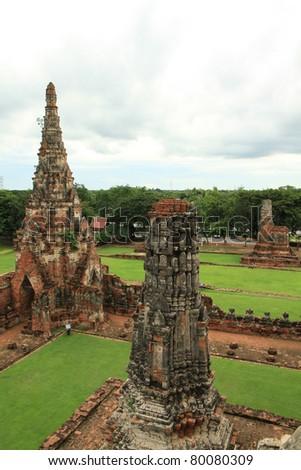 Ruin of pagoda at Wat Chaiwattanaram ,Auythaya province Thailand. - stock photo