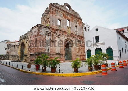 Ruin of the Santo Domingo convent, Casco Viejo, Panama City, Panama, Central America - stock photo