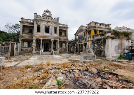 ruin of western-style house in Kinmen - stock photo