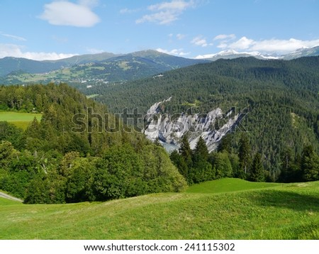Ruinaulta or Rhine canyon or grand canyon in Switzerland  - stock photo