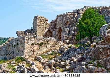 Ruined ancient Nimrod fortress on the Golan Heights, Israel