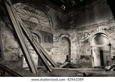 Ruined building - old thermal baths in the Moorish style - stock photo