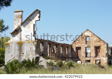 ruined building walls - stock photo