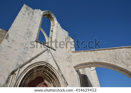 Ruined Carmo Convent, a gothic church destroyed by the great Lisbon earthquake of 1755, now a city landmark - stock photo