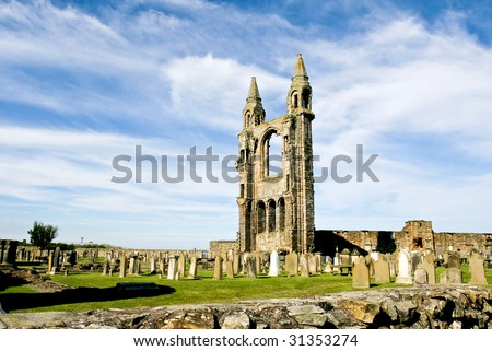 Ruined cathedral in St Andrews Edinburgh, Scotland - stock photo