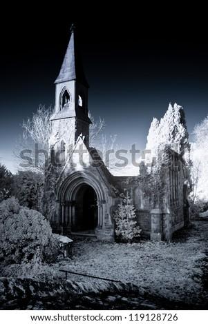 ruined chapel shot using infra red equipment - stock photo
