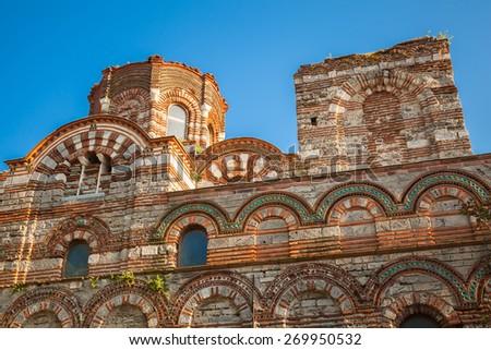 Ruined Church of Christ Pantokrator, in old historical Nesebar town, Bulgaria. Black sea coast - stock photo