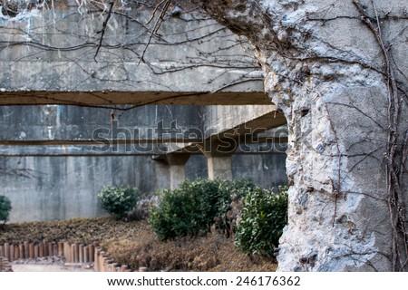 Ruined concrete - stock photo