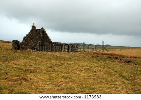 Ruined Croft on the Moray Coast - stock photo