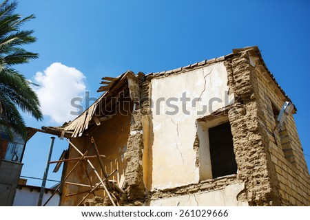 Ruined destroyed house