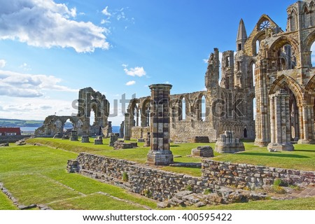 Ruined Entrance to Whitby Abbey in North Yorkshire in England. It is ruins of the Benedictine abbey. Now it is under protection of the English Heritage. - stock photo