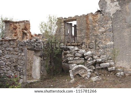 Ruined house in an old village, Portugal, Europe - stock photo