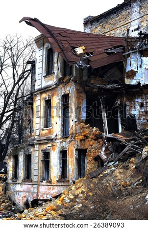 Ruined house. Old Odessa Ukraine - stock photo