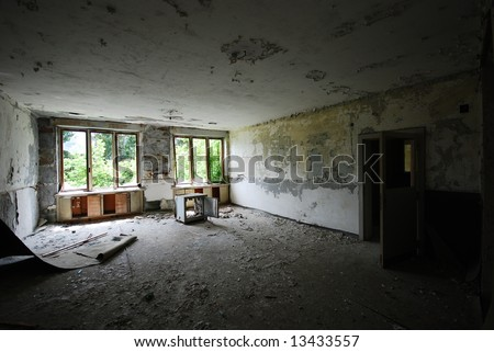 ruined interrior, abandoned old building - stock photo