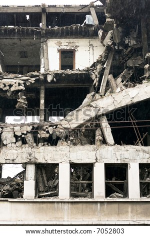Ruined residential building after strong earthquake eruption - stock photo