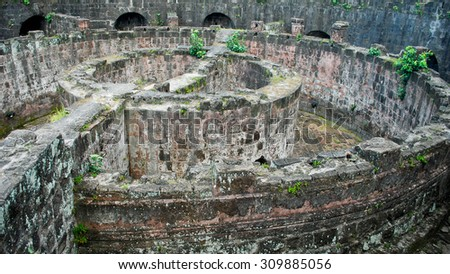 Ruined Spanish Fort at Intramuros Manila - stock photo