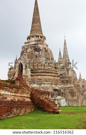 Ruined temple in Ayutthaya, Thailand.