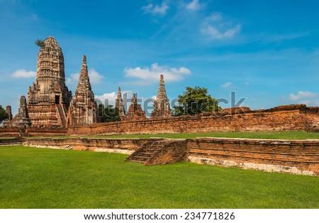 Ruined Temple, Wat Chai Wattanaram, at Ayutthaya Historical Park, Thailand - stock photo