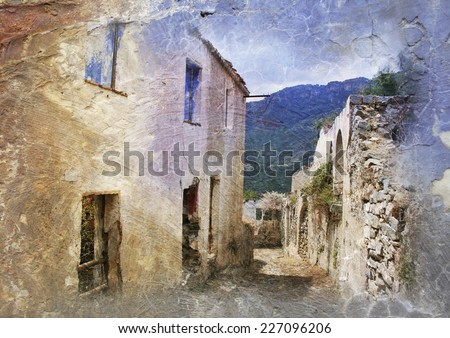 Ruined village Gairo Vechio, Sardinia, Italy - vintage styled Picture with patina texture - stock photo