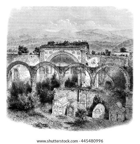 Ruins and cemetery in Tlalmanalco Mexico. Sixteenth century, vintage engraved illustration. Magasin Pittoresque 1861.