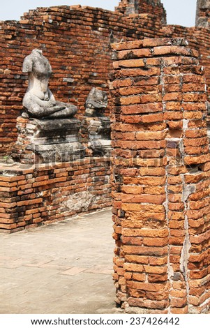 Ruins Buddha image, pagoda, monastery in ancient temple, Ayutthaya province northern of Thailand. - stock photo