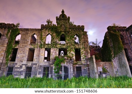 Ruins from the Smallpox Hospital on Roosevelt Island in New York City. - stock photo