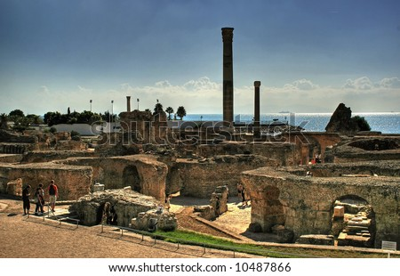 Ruins in Carthage. Photo with HDRi effect. - stock photo