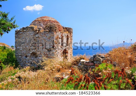 Ruins in Kastro, old metropolis of Skiathos, that resemble a face - stock photo