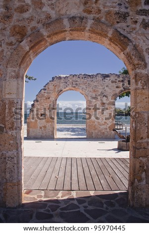 Ruins in Le Moule on the island of Guadeloupe. - stock photo