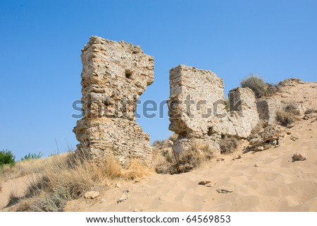 Ruins in Side Turkey - stock photo