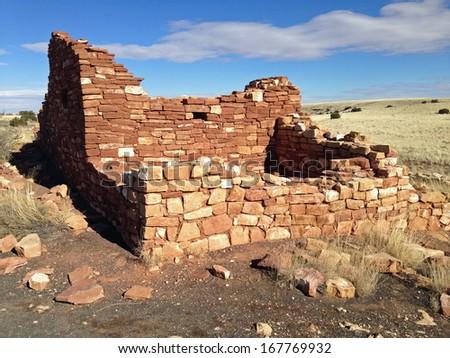 Ruins in Wupatki National Monument in Arizona - stock photo