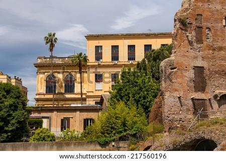 Ruins near the beautiful palace in Rome, Italy - stock photo