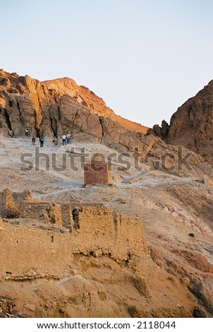 Ruins of a desert village in Tunisia. - stock photo
