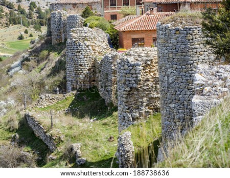 Ruins of a medieval fortress in Calatanazor, Soria Spain - stock photo