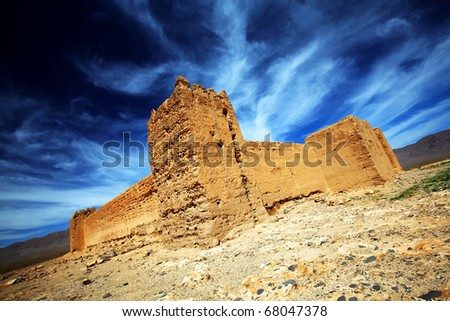Ruins of a moroccan kasbah, Africa - stock photo