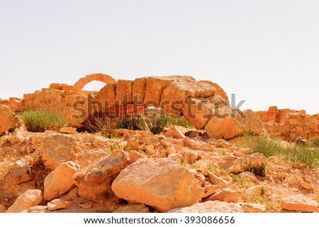Ruins of a Roman house in Umm ar-Rasas,an archeological site in Jordan. UNESCO World heritage - stock photo
