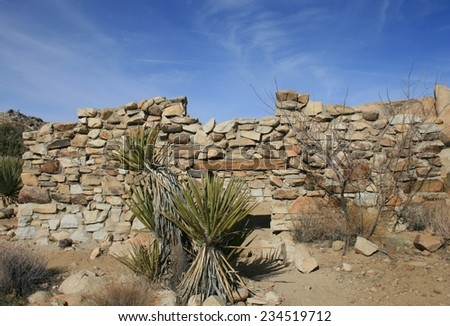 Ruins of a stone cabin, Joshua Tree National Park, CA - stock photo