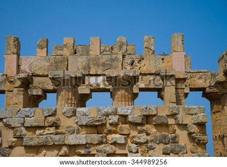 Ruins of a temple in Selinute, Sicily, Italy - stock photo