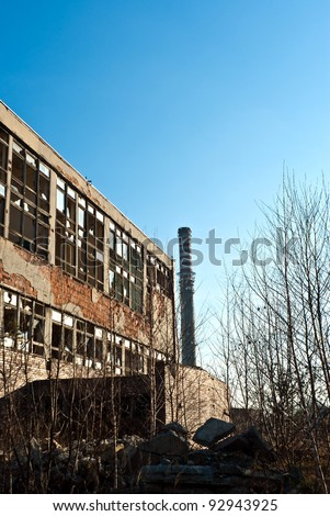 Ruins of a very heavily polluted industrial factory, the place was known as one of the most polluted place in Europe. - stock photo